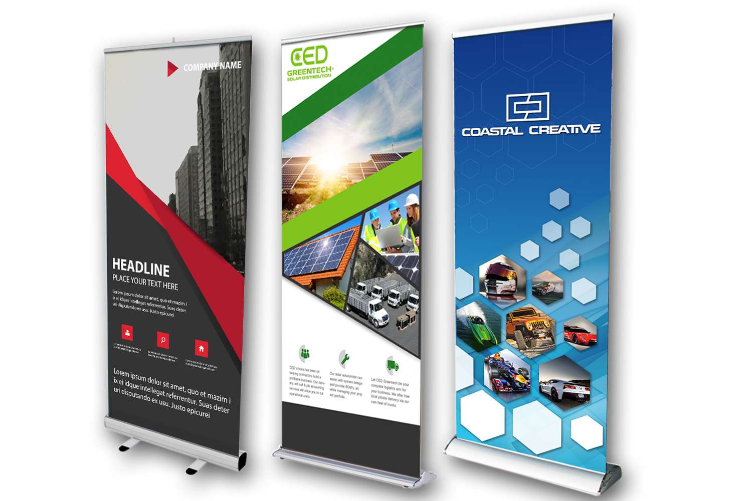 Retractable banner stands.