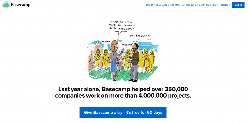 A screenshot of the Basecamp home page showing hand drawn illustrations.