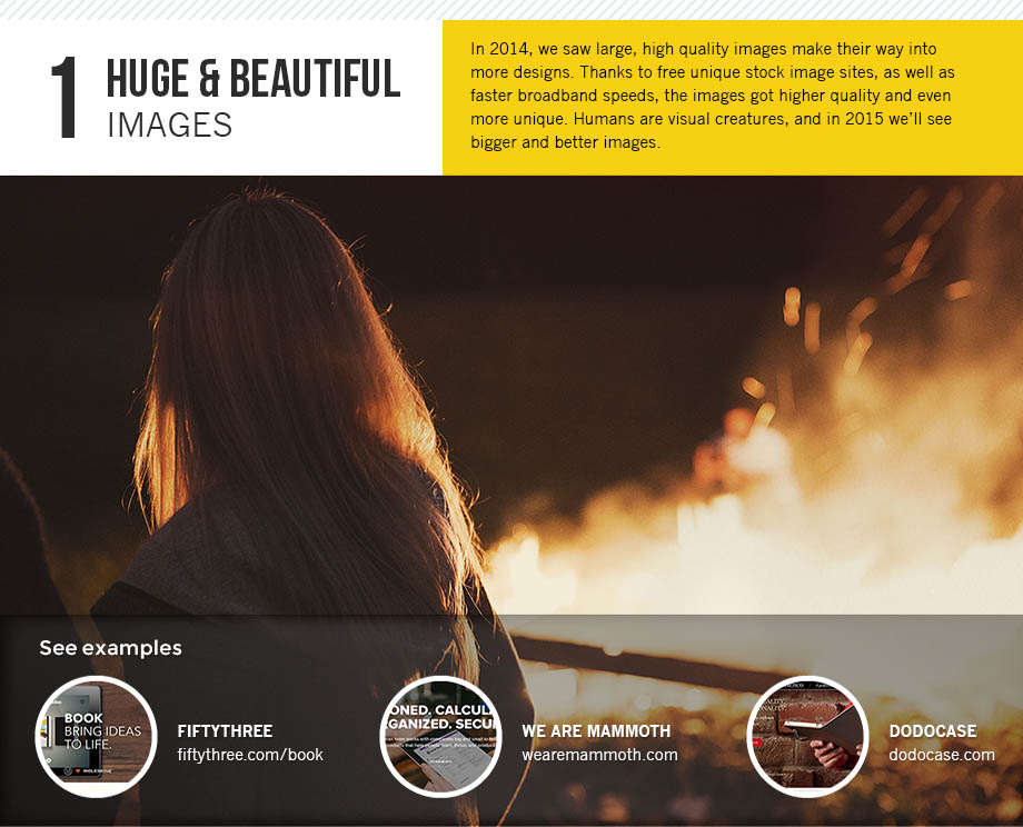 Huge and beautiful images are the first design trend for 2015