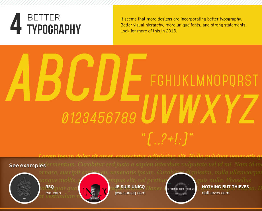 Better typography is a 2015 design trend.