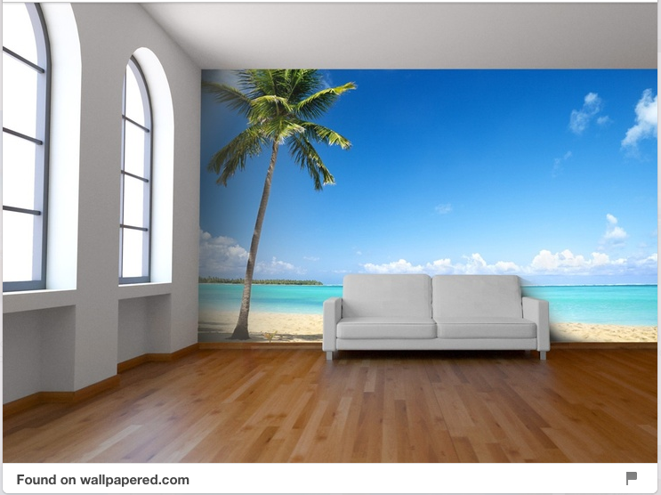 Beach scene wall murals home design for How to design a mural