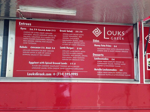 Foam Core Prints for Food Truck Menus
