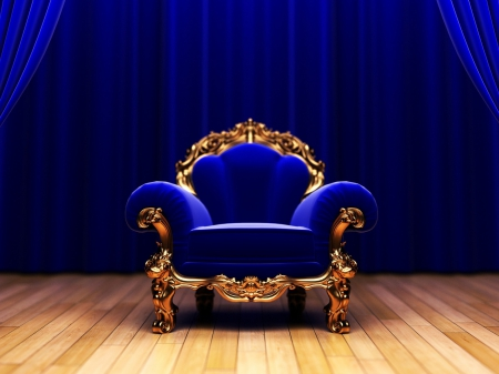 This chair looks a lot more regal in front of a backdrop than in the middle of your cluttered living room.