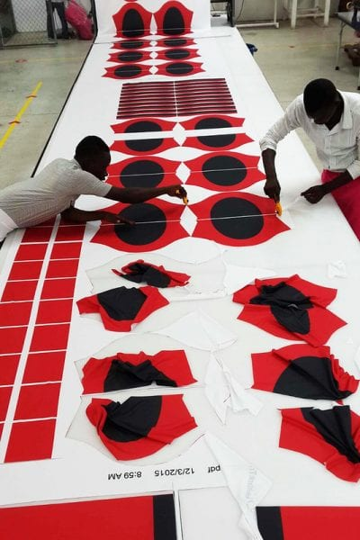 cutting and sewing sublimated fabrics together after printing